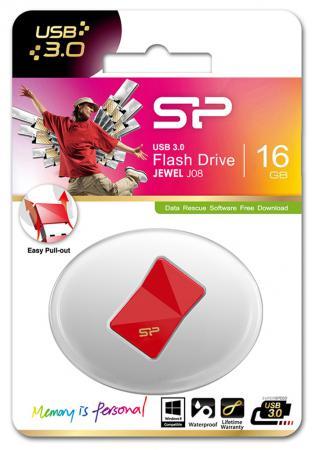 Флешка USB 16Gb Silicon Power Jewel J08 SP016GBUF3J08V1R красный флешка usb silicon power jewel j08 16гб usb3 0 черный [sp016gbuf3j08v1k]