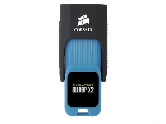 Флешка USB 16Gb Corsair Voyager Slider X2 CMFSL3X2-16GB черно-голубой usb flash drive 16gb corsair voyager slider x1 cmfsl3x1 16gb