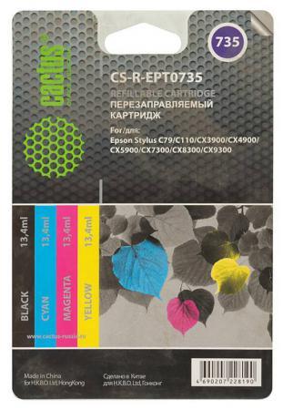 Картридж CACTUS CS-R-EPT0735 для Stylus С79/C110/СХ3900/CX4900/CX5900/CX7300 цветной 4шт картридж cactus cs ept0735 для epson stylus с79 c110 сх3900 cx4900 цветной 270стр 4шт