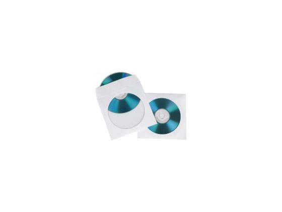 Конверты Hama для CD/DVD бумажные с прозрачным окошком белый 100шт H-62672 цена и фото