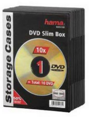 Коробка HAMA для 1 DVD пластик черный 10шт H-51181 hama h 86043 1