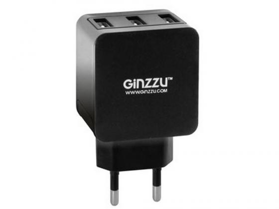 Сетевое зарядное устройство Ginzzu GA-3315UB 3.1А 3 x USB черный ginzzu ga 3412ub black сетевое зарядное устройство кабель micro usb
