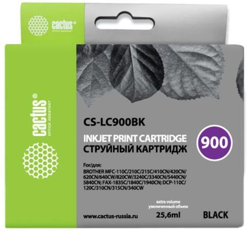 Картридж Cactus LC-900BK для Brother DCP-110/115/120/MFC-210/215 черный 500стр cactus cs lc900с cyan картридж струйный для brother dcp 110 115 120 mfc 210 215 fax 1840