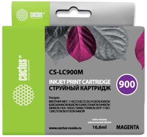 Картридж Cactus LC-900M для Brother DCP-110/115/120/MFC-210/215 пурпурный 400стр картридж lc 1220m