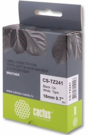 Фото - Лента Cactus CS-TZ241 для принтеров Brother P-touch 1010/1280/1280VP/2700VP черный на белом 18ммх8м лента ламинирования brother tz221 9мм для p touch черный на белом