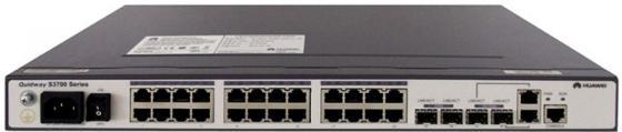 Коммутатор Huawei S3700-28TP-EI-DC 24 порта 10/100Mbps 2хSFP коммутатор huawei s2750 28tp pwr ei ac