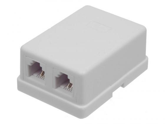 лучшая цена Розетка Lanmaster TWT-SS2-1212-WH телефонная настенная 2 порта 6P4C винтовая