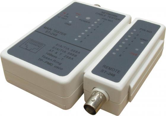 Тестер кабеля VCOM Telecom ST-248 для RJ45/11/12 кабельный тестер telecom hl 004