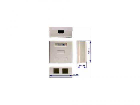 Розетка Lanmaster TWT-SM2-4512-WH настенная 1 порт RJ-45 категории 5е и 1 порт RJ-12 UTP белый розетка lanmaster телефонная настенная 1 порт 6p4c винтовая белый twt ss1 12 wh