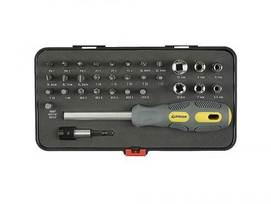 Набор Stayer MAX-GRIP отвертка с битами и торцевыми головками 32 предмета 25927-H32 G stayer 6шт max grip 25843 h6 g