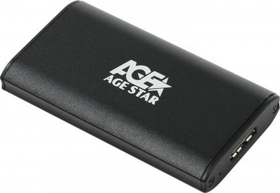 Внешний контейнер для HDD mSATA AgeStar 3UBMS1 USB3.0 пластик/алюминий черный док станция для hdd agestar 3ubt3 6g черный