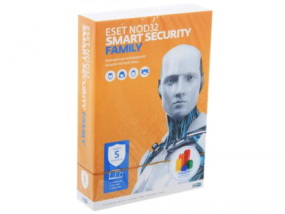Антивирус ESET NOD32 Smart Security Family на 12 мес на 5 устройств NOD32-ESM-NS(BOX)-1-5 антивирус
