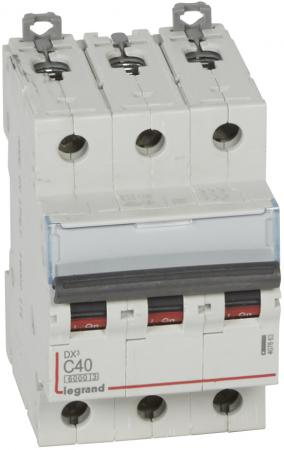 Автоматический выключатель Legrand DX3 6000 10кА тип C 3П 40А 407863 автоматический выключатель tdm ва47 100 3р 100а 10ка d sq0207 0033