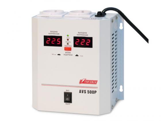 Стабилизатор напряжения Powerman AVS 500P 2 розетки белый цены онлайн