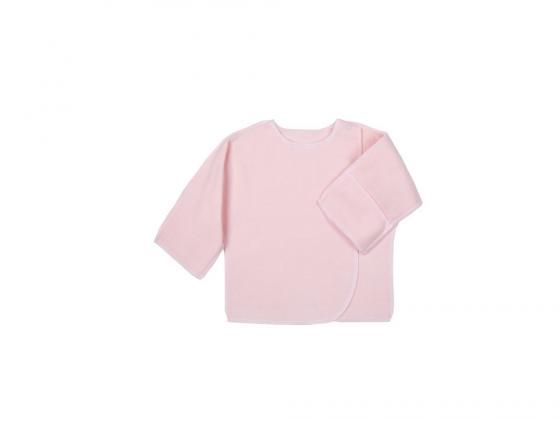 Распашонка Little me 0 мес. трикотажная на кнопке с ручками,розовая в горошек