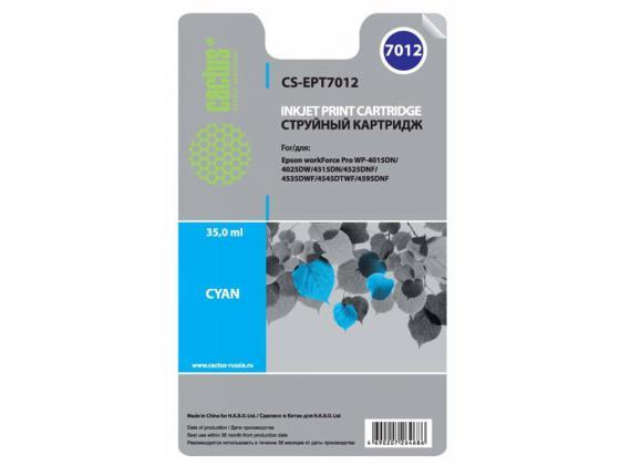 Картридж Cactus CS-EPT7012 для Epson WorkForce WF-4015/4020/4025/4095/4515/4525 голубой 2 set t677 with 4pc t6710 chips for epson workforce pro wp 4530 4540 4092 4511 4521 4531 4025 4015 4515 printer maintenance