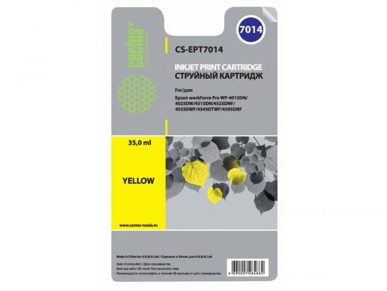 Картридж Cactus CS-EPT7014 для Epson WorkForce WF-4015/4020/4025/4095/4515/4525 желтый 2 set t677 with 4pc t6710 chips for epson workforce pro wp 4530 4540 4092 4511 4521 4531 4025 4015 4515 printer maintenance