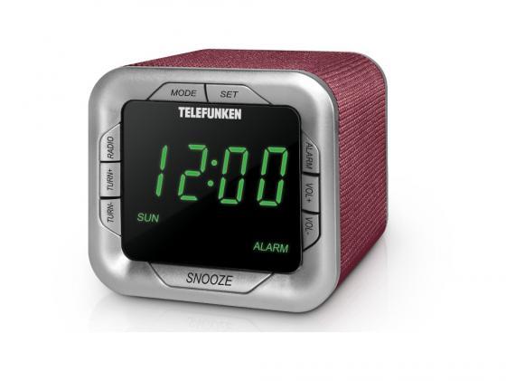 Часы с радиоприёмником Telefunken TF-1505 бордовый зелёный радио часы telefunken tf 1567u black white
