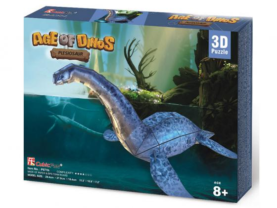 Пазл 3D CubicFun Эра Динозавров Плезиозавр 38 элементов cubicfun пазл 3d эра динозавров трицератопс cubicfun