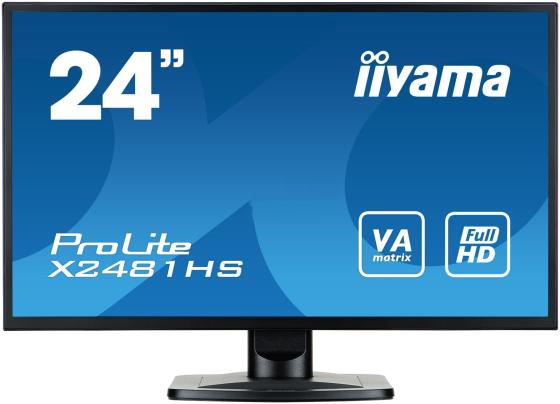"Монитор 24"" iiYama Pro Lite X2481HS-B1 черный VA 1920x1080 250 cd/m^2 6 ms DVI HDMI VGA Аудио iiyama gb2488hsu b2 24 черный dvi hdmi full hd"