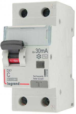 Выключатель дифференциального тока Legrand DX3 1П+Н C25А 30MA-AC 411004  выключатель дифференциального тока legrand dx3 1п н c16а 30ma ac 411002