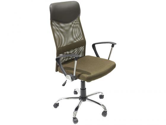 Кресло руководителя College H-935L-2 ткань крестовина хромированный металл подлокотники пластик коричневый
