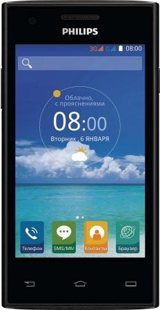 Смартфон Philips S309 черный 4 4 Гб Wi-Fi GPS 8+1 смартфон micromax q334 canvas magnus черный 5 4 гб wi fi gps 3g