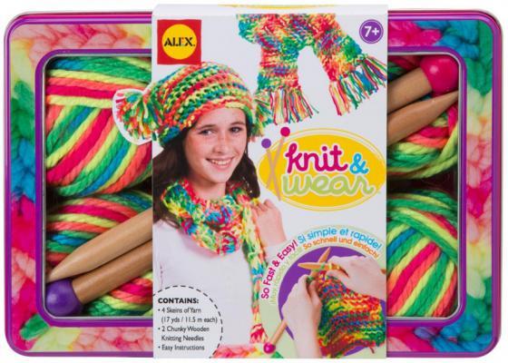 Набор для вязания Alex Разноцветные шарф и шапочка 182T набор для вязания alex радужный шарф от 8 лет 85t