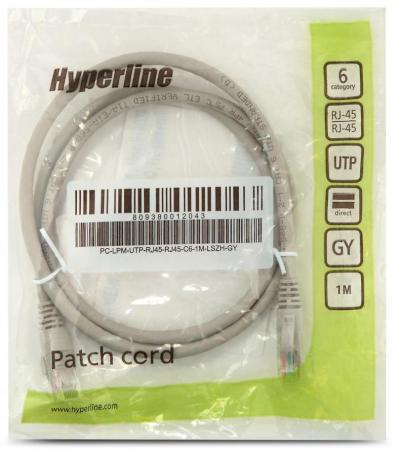 купить Патч-корд UTP 6 категории 1м Hyperline PC-LPM-UTP-RJ45-RJ45-C6-1M-LSZH-GY LSZH серый дешево
