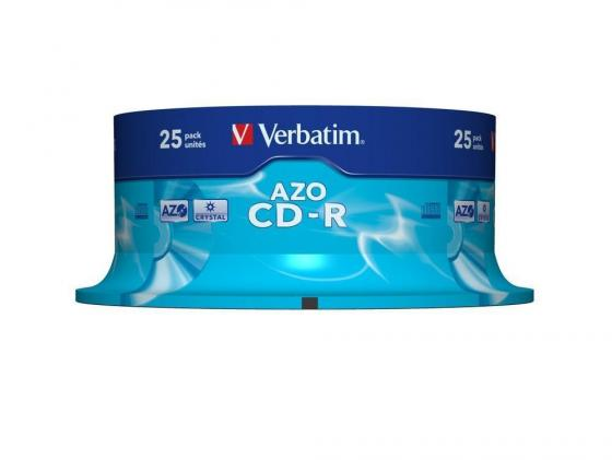 Диски CD-R 700Mb 52x CakeBox 25шт Crystal Azo Verbatim 43352 диски cd r 700mb 52x jewel 10шт printable verbatim 43325 4