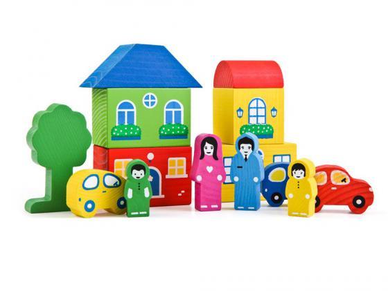 Конструктор Томик Цветной Городок-6 14 элементов 8688-6 деревянные игрушки томик конструктор цветной городок синий 14 деталей