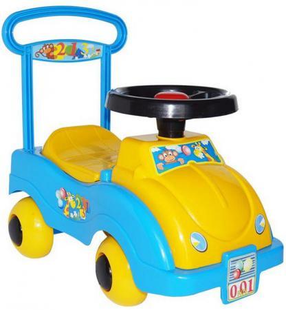 Каталка-машинка Совтехстром Автомобиль №1 пластик от 1 года желтый /голубой У438 стоимость