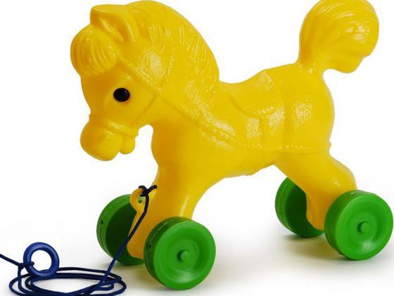 Каталка на шнурке Росигрушка Лошадка пластик от 1 года желтый 9107 каталка на палочке s s toys вертолет желтый от 1 года пластик