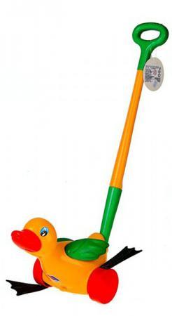 Каталка на палочке Полесье Утёнок пластик от 1 года с ручкой желтый 7925 каталка на палочке s s toys вертолет 23х16х13см