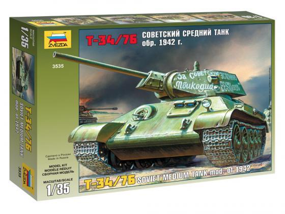 Танк Звезда Т-34/76 образца 1942 г. 1:35 3535 танк т 34 76 с минным тралом 1 35