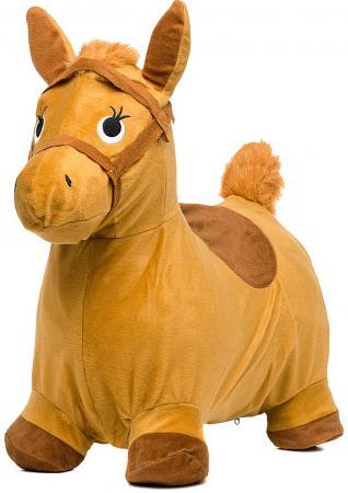 Купить Каталка Наша Игрушка Лошадка-попрыгунчик резина от 1 года бежевый 63801, Мячи и животные-прыгуны