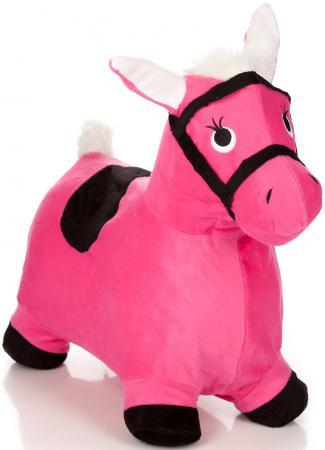Купить Каталка Наша Игрушка Лошадка-попрыгунчик плюш от 1 года розовый 63798, Мячи и животные-прыгуны