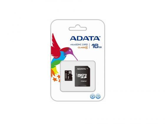 Карта памяти Micro SDHC 16Gb Class 4 A-Data AUSDH16GCL4-RA1 + адаптер SD карта памяти micro sdhc 16gb class 10 leef lmsa0kk016r5 адаптер sd
