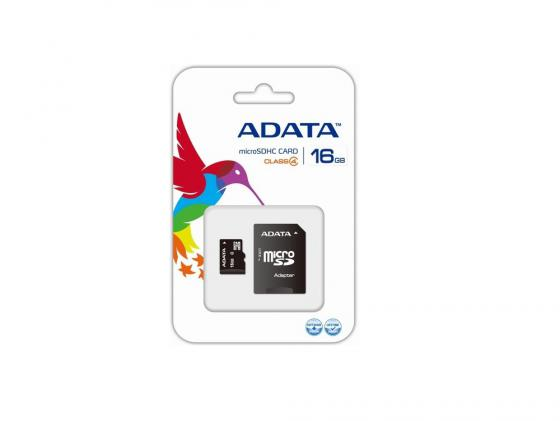 Карта памяти Micro SDHC 16Gb Class 4 A-Data AUSDH16GCL4-RA1 + адаптер SD axon a 305