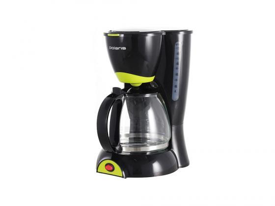 Кофеварка Polaris PCM 1211 капельная 800Вт 1.25л черно-салатовый кофеварка капельная polaris pcm 1518ae