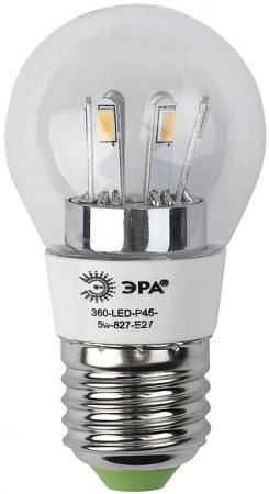 Лампа светодиодная груша Эра 360-LED P45-5w-827-E27 E27 5W эра p45 e27 5w 230v желтый свет