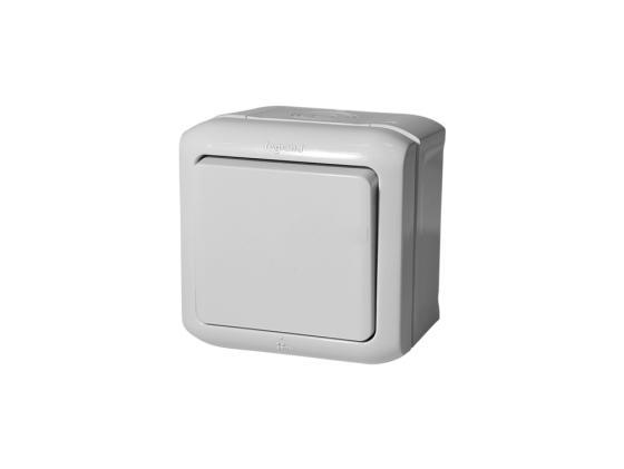 Выключатель Legrand Quteo 1-клавишный серый 782330 выключатель 1 клавишный наружный белый 10а quteo