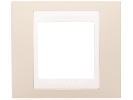 Рамка 1 пост песчаный/белый Schneider Electric MGU6.002.867 панель лицевая schneider electric actassi 1 модуль белый 24 шт vdi88240