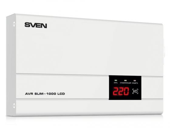 Стабилизатор напряжения Sven AVR SLIM-1000 LCD 1 розетка стабилизатор sven avr slim 500 lcd