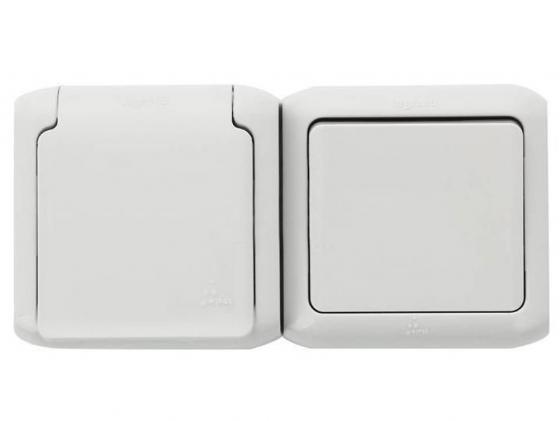 Выключатель Legrand Quteo 1-клавишный + розетка 2К+З белый 782318