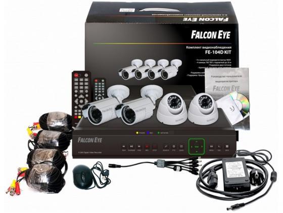Комплект видеонаблюдения Falcon Eye FE-104AHD-KIT Офис 4 уличные камеры 4-х канальный видеорегистратор установочный комплект