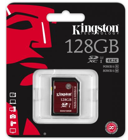 Карта памяти SDXC 128GB Class 10 Kingston SDA3/128GB