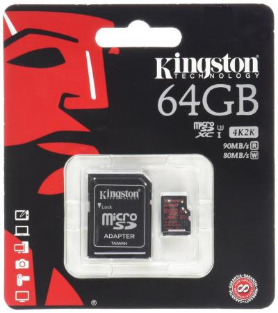 Карта памяти Micro SDXC 64GB Class 10 Kingston SDCA3/64GB + адаптер карта памяти micro sdxc kingston sdca10 64gb