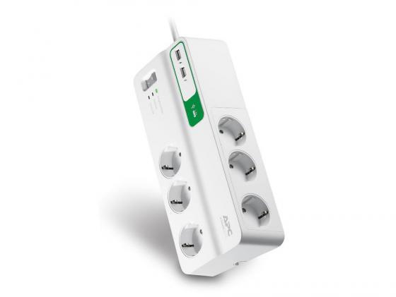 Сетевой фильтр APC PM6U-RS 6 розеток 2 м белый сетевой фильтр apc pmh63vt rs 6 розеток 2 4 м белый