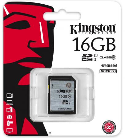 Карта памяти SDHC 16GB Class 10 Kingston UHS-1 SD10VG2/16GB